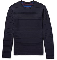 Issey Miyake Men Striped Double Faced Wool Blend Sweater Midnight Blue