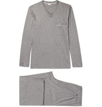 Zimmerli Melange Mercerised Cotton Jersey Pyjama Set Gray