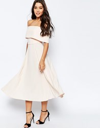 Asos Soft Off The Shoulder Bardot Midi Prom Dress Pink