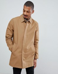 Asos Design Shower Resistant Single Breasted Trench In Tobacco Brown