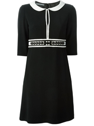 Alberta Ferretti Peter Pan Collar Beaded Dress Black
