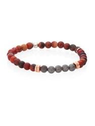Tateossian Stonehenge Semi Precious Jasper And Rose Goldplated Sterling Silver Bracelet Red