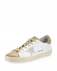 Golden Goose Superstar Metallic Low Top Sneaker White Gold White Metallic