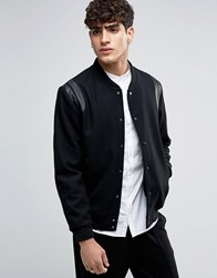 Selected Homme Varsity Bomber With Leather Shoulder Trims Black