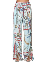 Lanvin Printed Satin Wide Leg Pants W Slits Lightblue