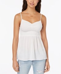 Almost Famous Juniors' Smocked Cami Top White