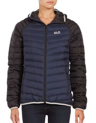 Jack Wolfskin Colorblocked Down Puffer Coat Night Blue