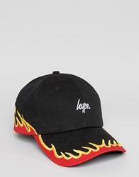 Hype Baseball Cap With Fire Embroidery Black