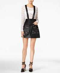 Guess Rona Faux Leather Suspender Skirt Jet Black
