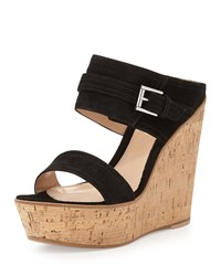 Suede Ankle Wrap Wedge Slide Black Gianvito Rossi