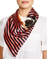 Altea Striped Ice Cream Cone Silk Scarf Navy Red