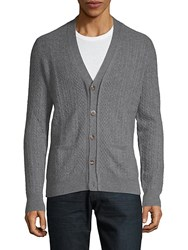 Saks Fifth Avenue Cable Knit Cashmere Cardigan Stone Grey