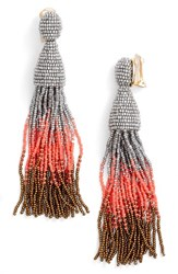Oscar De La Renta Women's Ombre Tassel Clip Earrings Silver Multi