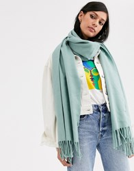 Monki Knitted Scarf In Sage Green