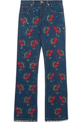 Ashish Voyage Embellished Embroidered Mid Rise Straight Leg Jeans Dark Denim