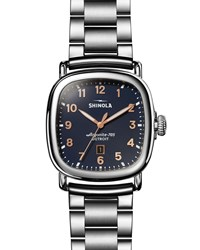 Shinola The Guardian 41.5Mm X 43Mm Polished Stainless Steel Watch With Midnight Blue Dial Silver