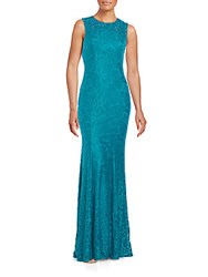 Carmen Marc Valvo Infusion Jewel Neck Gown Turquoise