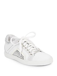 Alessandro Dell'acqua Jeweled Laser Cut Leather Sneakers White