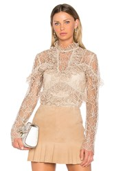 Acler Elan Lace Blouse Tan