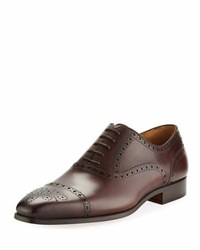 Magnanni Leather Brogue Wing Tip Oxford Blue