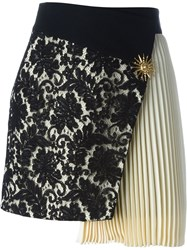 Fausto Puglisi Lace Panel Pleated Skirt Black