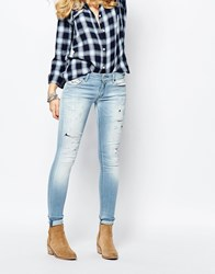 Replay Luz Mid Rise Skinny Jean With Bleach Effect Blue