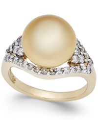 Macy's Cultured Golden South Sea Pearl 11Mm And Diamond 5 8 Ct. T.W. Ring In 14K Gold