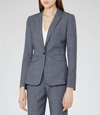 Reiss Russell Jacket Womens Textured Blazer In Blue