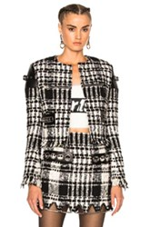 Alexander Wang Short Jacket In Black Checkered And Plaid Black Checkered And Plaid