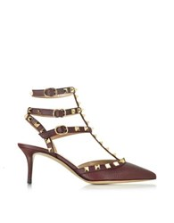 Valentino Rockstud Rubin Grained Leather Mid Heel Ankle Strap Pump Bordeaux