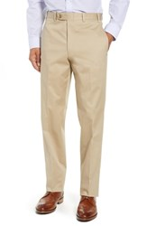 John W. Nordstrom Torino Traditional Fit Flat Front Solid Stretch Cotton Trousers Khaki