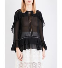 Alberta Ferretti Sheer Ruffle Detail Silk Blouse Black