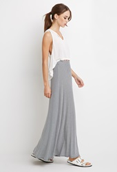 Forever 21 Stripe Ribbed Knit Maxi Skirt White Black