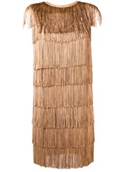 Norma Kamali All Over Fringe Mini Dress Brown