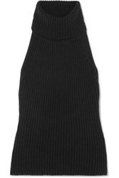 Antonio Berardi Ribbed Wool And Cashmere Blend Turtleneck Top Black