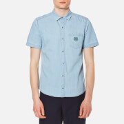 Kenzo Men's Bleach Denim Tiger Short Sleeve Shirt Sky Blue