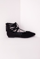 Missguided Lace Up Pointed Flats Black Black