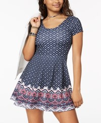 Planet Gold Juniors' Printed Double Scoop Skater Dress Blue Combo