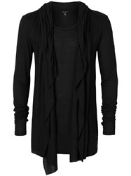 Unconditional Draped Hooded Cardigan Black