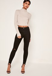 Missguided Black Highwaisted Destroyed Hem Skinny Jeans