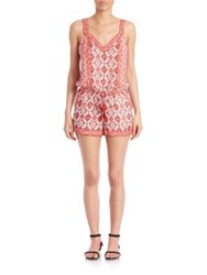 Joie Sophy Silk Tile Print Short Jumpsuit Coral Rose