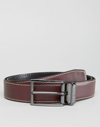 Ted Baker Belt In Leather Reversible Red