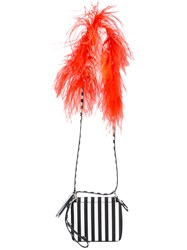 Marques Almeida Marques'almeida Striped Shoulder Bag Women Cotton Leather Polyester Ostrich Feather One Size Black