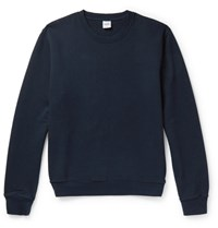 Aspesi Garment Dyed Loopback Cotton Jersey Sweatshirt Navy