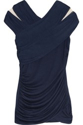 Bailey 44 Tulle Paneled Ruched Jersey Top Navy
