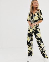 Miss Selfridge Jumpsuit With Knot Front In Floral Print Black