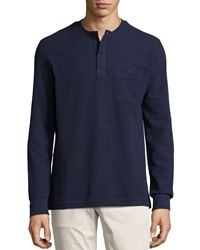Lacoste Waffle Knit Long Sleeve Henley Shirt Navy