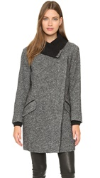 Vince Shawl Collar Asymmetrical Coat Black Off White