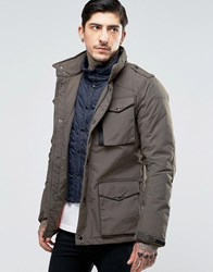 Schott Field Jacket With Mock Insert Khaki Green