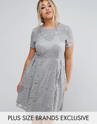Little Mistress Plus Allover Lace Skater Dress With Cap Sleeve Grey